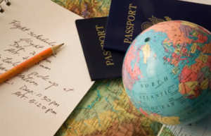 Map, globe, passport