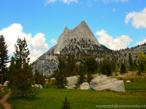 Cathedral Peak from John Muir Trail Yosemite