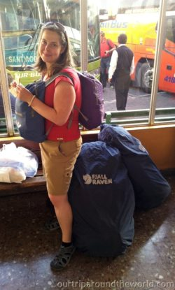 Martina with backpacks