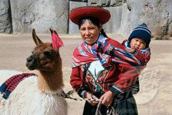 Quechua Indians and Llama Cuzco Peru