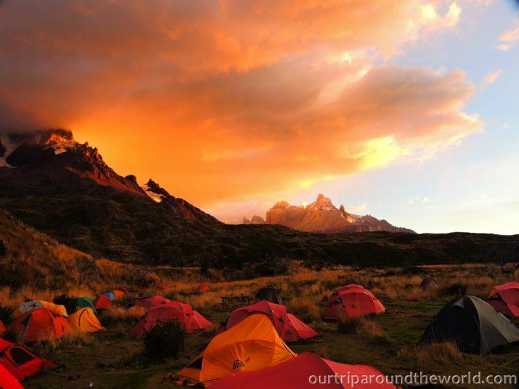 sunset at Paine Grande Torres del Paine